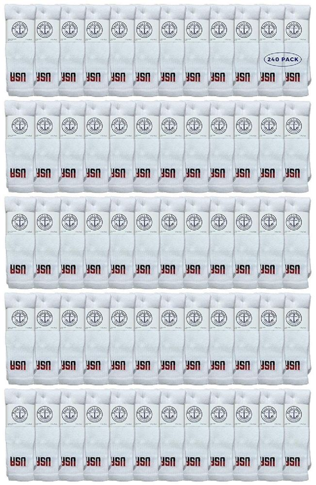 240 of Yacht & Smith Men's Cotton 28 Inch Tube Socks, Referee Style, Size 10-13 White With Usa Print
