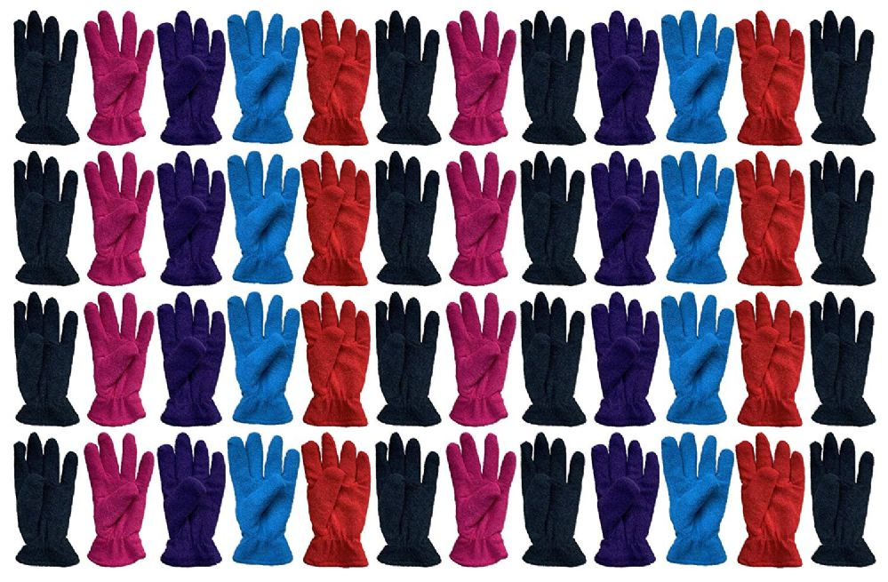 48 of Yacht & Smith Value Pack Of Unisex Warm Winter Fleece Gloves, Many Colors, Mens Womens, One Size (48 Pack Woman)