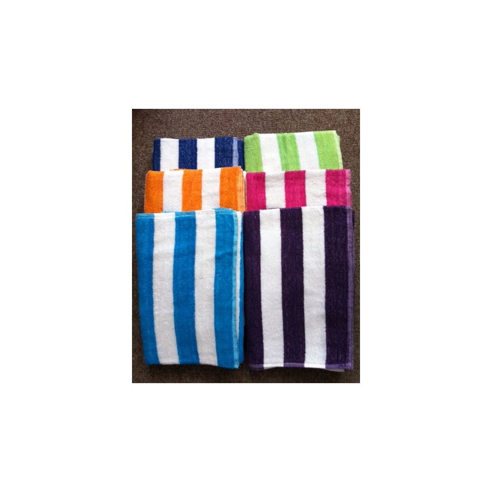 24 Of Cabana Stripe 100 Beach Towels Assorted Colors Size 32x65