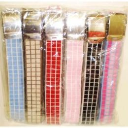 144 of Ladies Canvas Belt With Checker Design