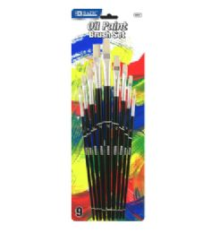 144 of Bazic Asst. Size Oil Paint Brush Set (9/pack)
