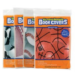 """48 of Assorted Sports 8"""" X 10"""" Stretchable Fabric Book Covers"""