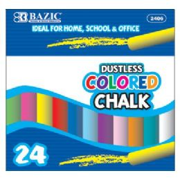 72 of Bazic Dustless Assorted Color Chalk (24/box)