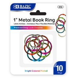"""144 of Bazic 1"""" Assorted Color Metal Book Rings (10/pack)"""