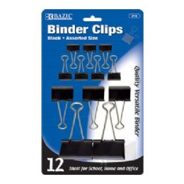 144 of Bazic Assorted Size Black Binder Clip (12/pack)