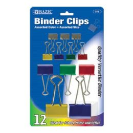 144 of Bazic Assorted Size Color Binder Clip (12/pack)