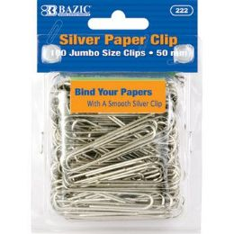 72 of Bazic Jumbo (50mm) Silver Paper Clip (100/pack)