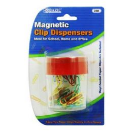 144 of Bazic Magnetic Paper Clips Holder W/ 50 Ct. Small Color Paper Clip
