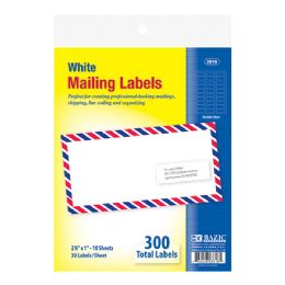 """144 of Bazic 1"""" X 2 5/8"""" White Address Labels (300/pack)"""