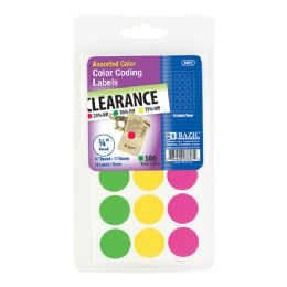 """144 of Bazic Assorted Color 3/4"""" Round Label (306/pack)"""