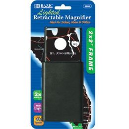 "144 of Bazic 2"" X 2"" Retractable 2x Lighted Magnifier"