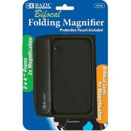 "144 of Bazic 2"" X 4"" Folding 2x Magnifier & 4x Bifocal Inset W/ Protective Pouch"