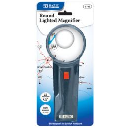 "144 of Bazic 2.5"" Round 3x Lighted Magnifier"
