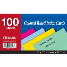 """36 of Bazic 100 Ct. 3"""" X 5"""" Ruled Colored Index Card"""