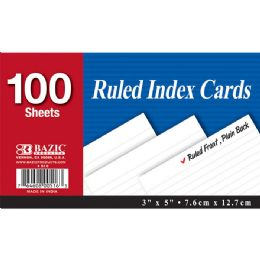 """36 of Bazic 100 Ct. 3"""" X 5"""" Ruled White Index Card"""