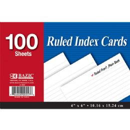 """48 of Bazic 100 Ct. 4"""" X 6"""" Ruled White Index Card"""