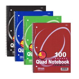 "48 of Bazic 100 Ct. QuaD-Ruled 4-1"" Spiral Notebook"