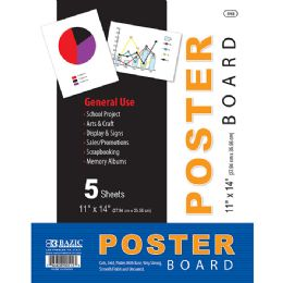 """48 of Bazic 11"""" X 14"""" White Poster Board (10/pack)"""
