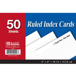 """36 of Bazic 50 Ct. 4"""" X 6"""" Ruled White Index Card"""