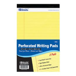 "24 of Bazic 50 Ct. 5"" X 8"" Canary Jr. Perforated Writing Pad (3/pack)"