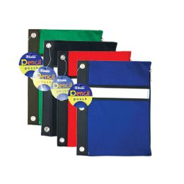 144 of Bazic Assorted Color 3-Ring Pencil Pouch