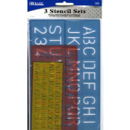 144 of Bazic 10, 17, 27mm Size Lettering Stencil Sets (3/pk)