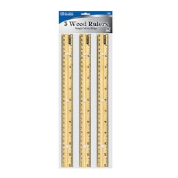 "144 of Bazic 12"" (30cm) Wooden Ruler (3/pack)"