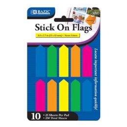 "144 of Bazic 25 Ct. 0.5"" X 1.7"" Neon Color Arrow Flags (10/pack)"