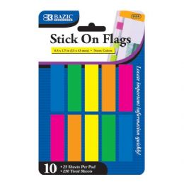 """144 of Bazic 25 Ct. 0.5"""" X 1.7"""" Neon Color Coding Flags (10/pack)"""