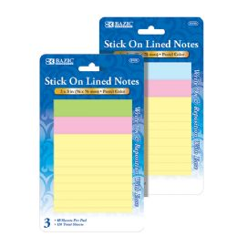 "144 of Bazic 40 Ct. 3"" X 3"" Lined Stick On Notes (3/pack)"