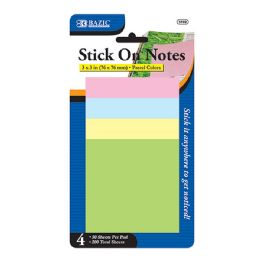 "144 of Bazic 50 Ct. 3"" X 3"" Stick On Note (4/pack)"