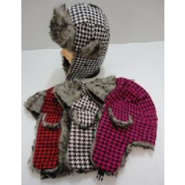 144 of Bomber Hat With Fur LininG--Houndstooth
