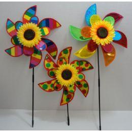 "120 of 15"" Double Flower Petal Wind SpinneR-Rainbow & Sunflower"