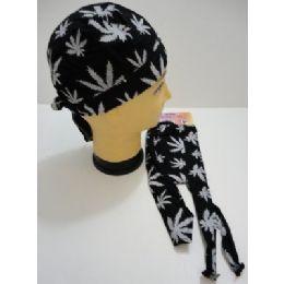 144 of Skull CaP-Black With White Marijuana Leaves