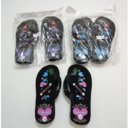 72 of Girls Flip Flops With Printed Hearts