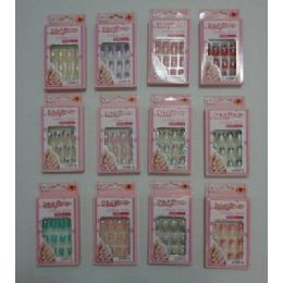 144 of Decorated Artificial Nails With Rhinestones [office Girls]