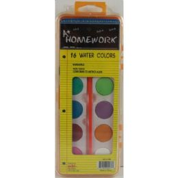 48 of Water Colors 16 Colors W/brush Plastic Case Washable