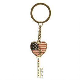 12 of Keychain Liberty Flag Heart Key