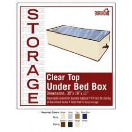 """36 of 39"""" X 18"""" X 11"""" Clear Top Under Bed Box -4 Assorted Colors"""