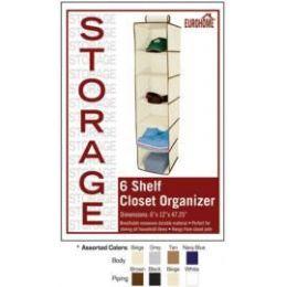 24 of 6 Shelf Closet Organizer 4 Assorted Colors