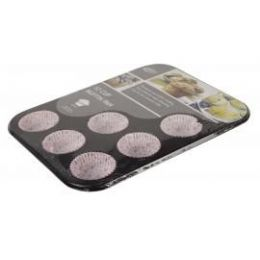 12 of 12 Cup Muffin Pan With Paper Cups