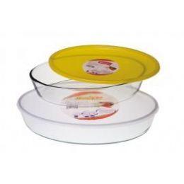 6 of Marinex Oval Baking Dish W/plastic LiD- 3.4 qt