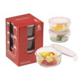 6 of 6-Pc.round Glass Container Set W/ Plastic Click & Lock Lids