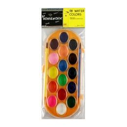 48 of Water Color Paint SeT- 16 Colors+2 Brushes