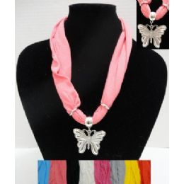 """48 of 30"""" Scarf Necklace With Butterfly"""