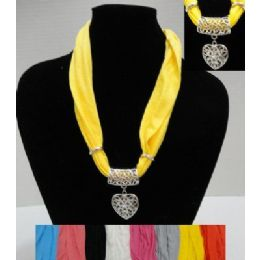 """48 of 30"""" Scarf Necklace With Heart"""