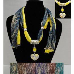 "72 of 62"" Leopard Print Scarf Necklace W/ Rhinestone Heart"