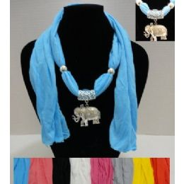 """36 of 64"""" Scarf Necklace With Elephant"""