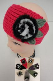 12 of Hand Knitted Ear BanD--Fur Flower