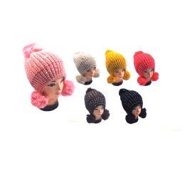 36 of Hat With 3 Pom Poms & Rhinestone